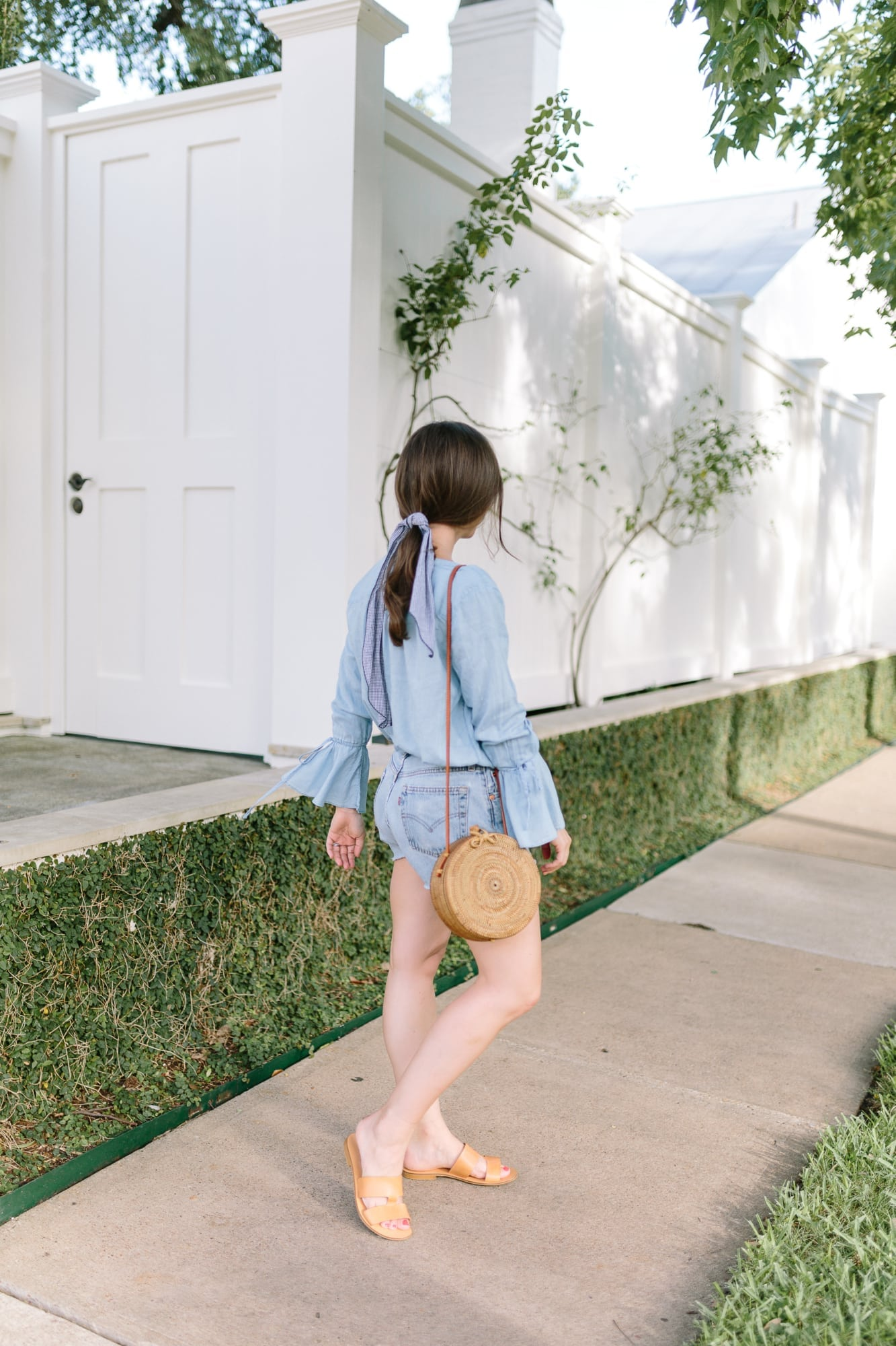 Loft Chambray Tee and 501 Levi Shorts