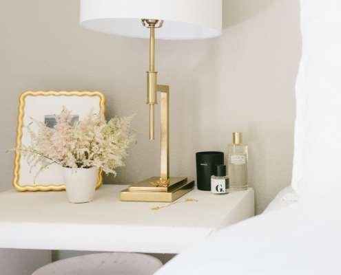 Grasscloth Side Table and Williams Sonoma Home Decor