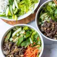 Bun Bo Xao (Vietnamese Lemongrass Beef Noodle Salad)