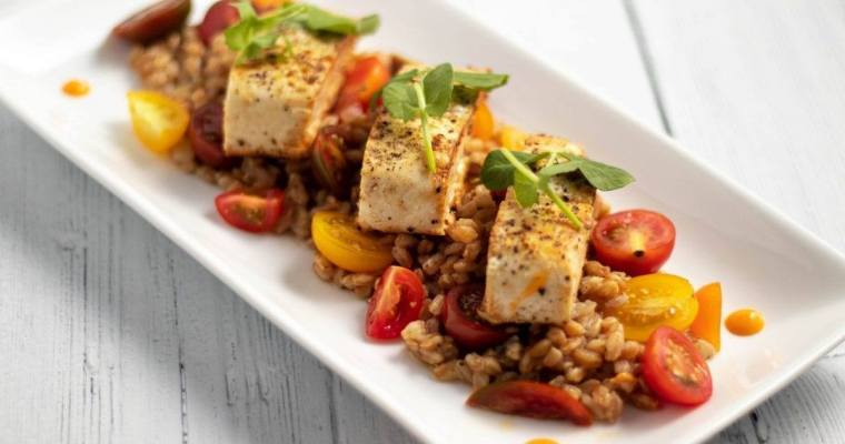 Mahi on a bed of Heirloom Tomatoes and Farro