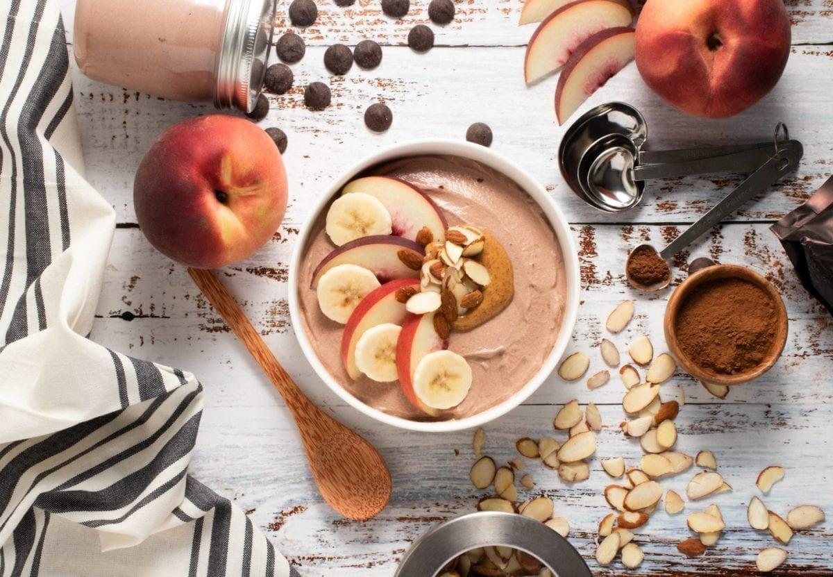 Chocolate Almond Butter Peach Bowl