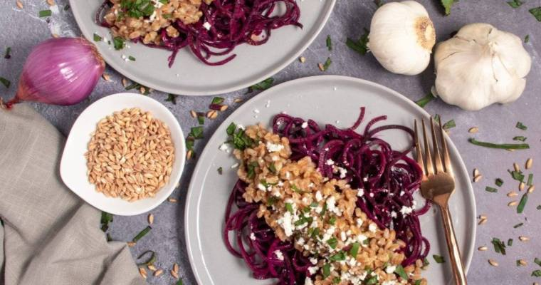 Beet Noodles with Farro