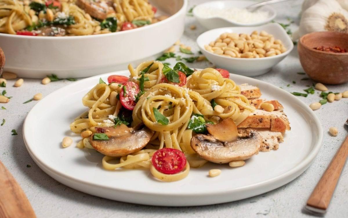 Chicken Mushroom Pesto Pasta