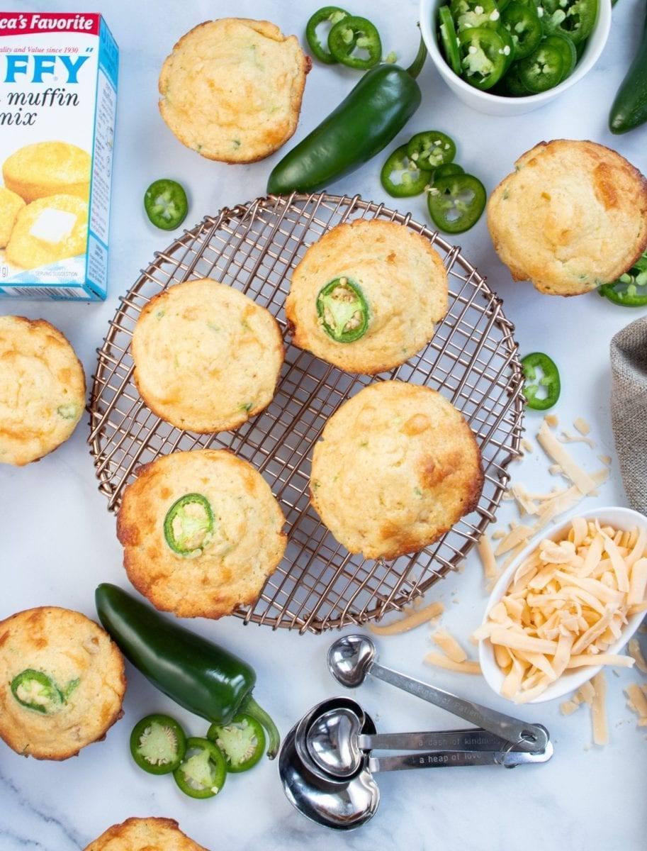 Cheesy Jalapeño Cornbread Muffins