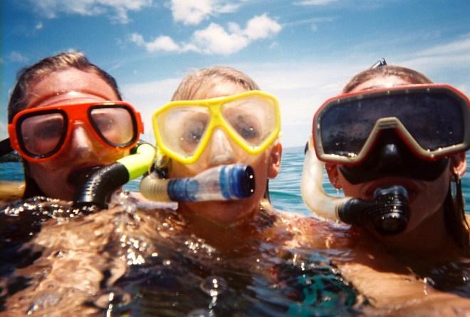 Three snorkeling muskateers