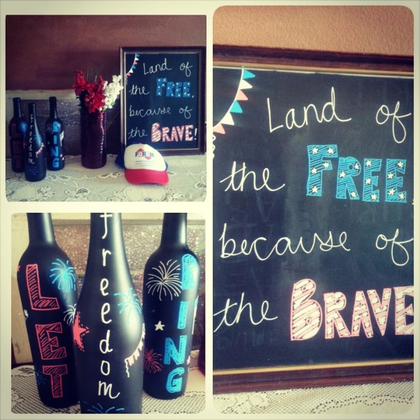 Memorial Day 4th of July Decorations Chalkboard Display