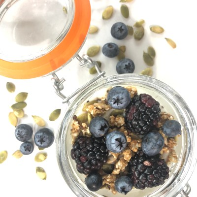 yogurt, granola, and berries