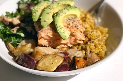 miso glazed salmon with veggies and farro