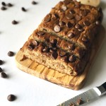 peanut butter banana bread with walnuts and chocolate chips