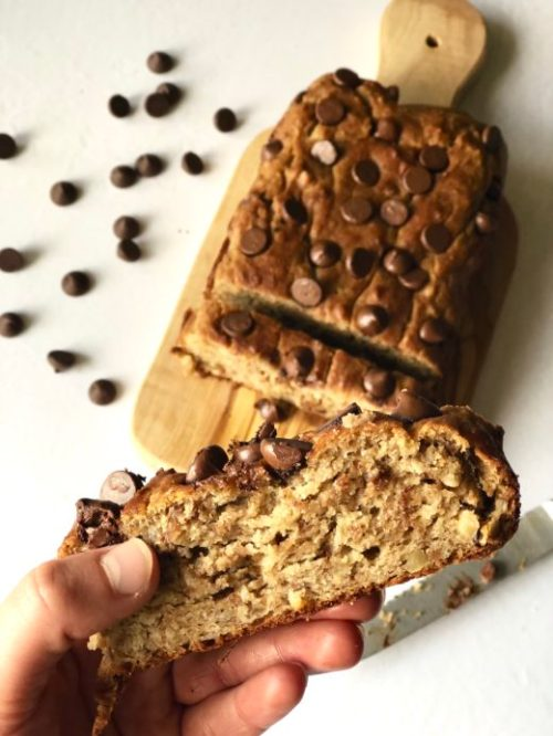 peanut butter banana walnut bread with chocolate chips