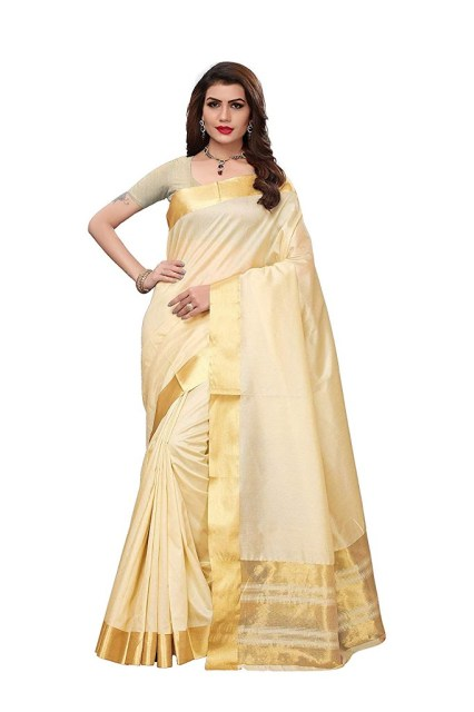 Maxis Women's Kerala Cotton Silk Blended Saree with Blouse Piece (Cream)