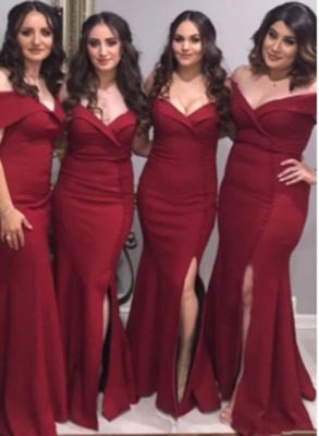 Elegant Burgundy Mermaid Bridesmaid Dresses