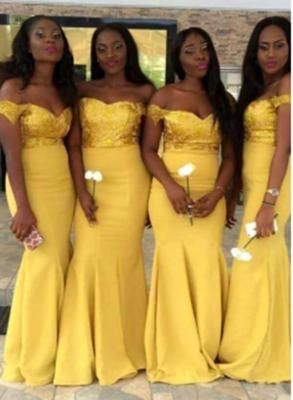 New Yellow Mermaid Bridesmaid Dresses