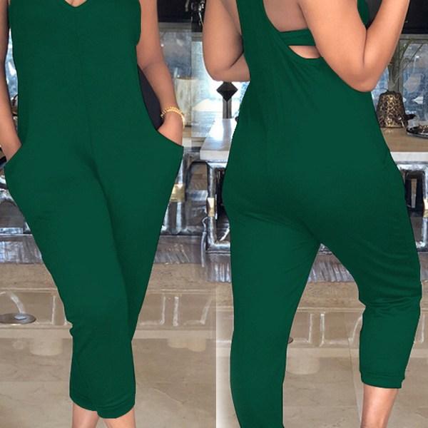LovelyEuramerican Dew Shoulder Green One-piece Jumpsuits 2