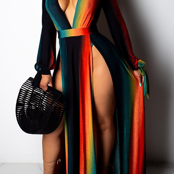 Lovely Sexy Striped Multicolor Ankle Length Dress 2