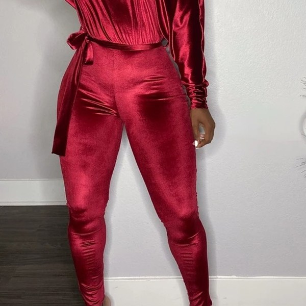 Lovely Casual Dew Shoulder Wine Red One-piece Jumpsuit 2