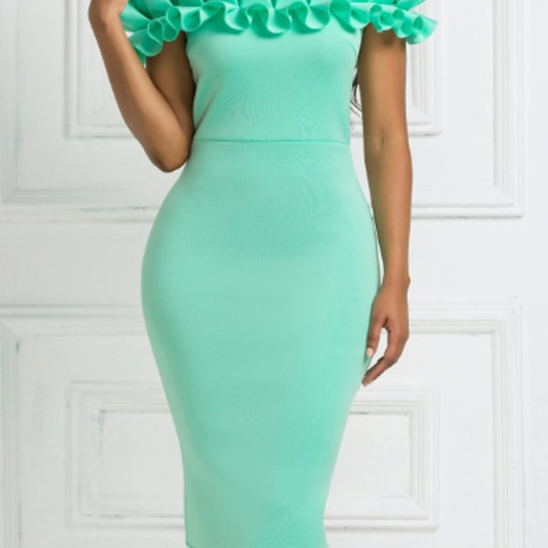Lovely Casual Flounce Green Prom Dress 2