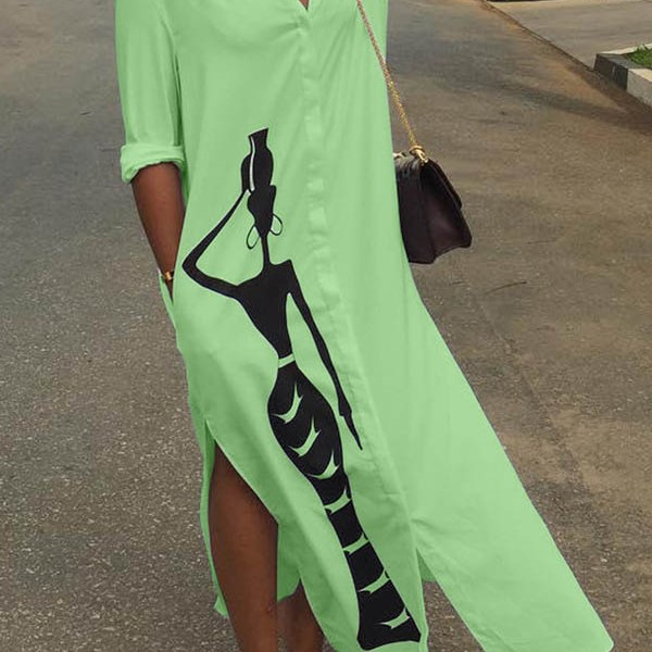 Lovely Casual Print Green Ankle Length Dress 2