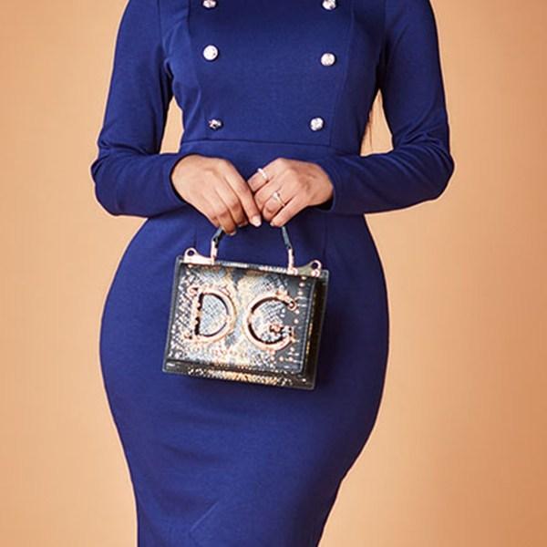 Lovely Work Mandarin Collar Dark Blue Knee Length Dress 2
