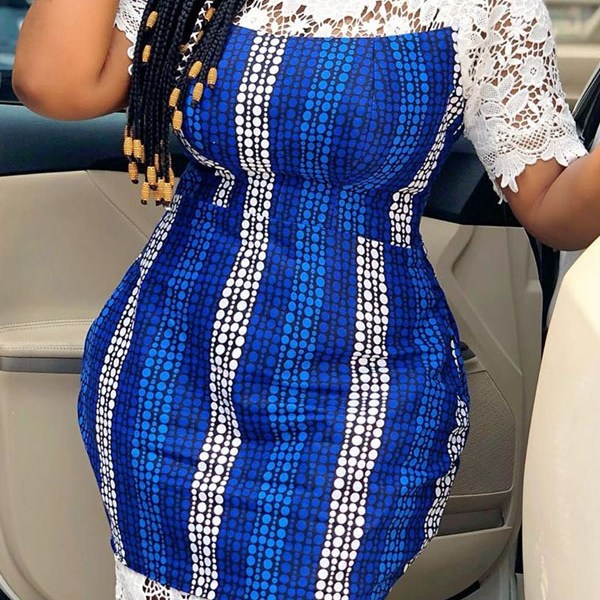 Lovely Trendy Lace Patchwork Blue Mid Calf Dress 2
