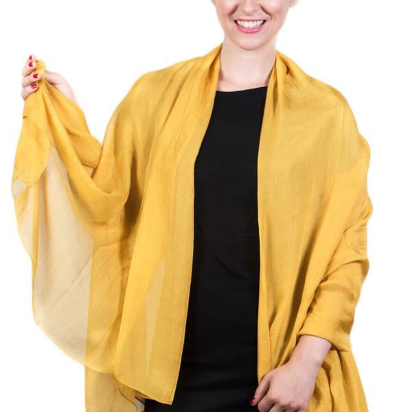 Light Solid Chiffon Shawl Golden Yellow 2