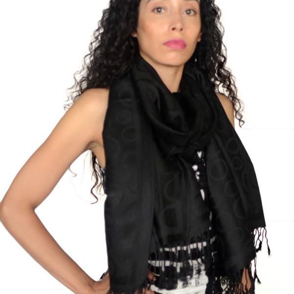 Circle Design Pashmina Black 2