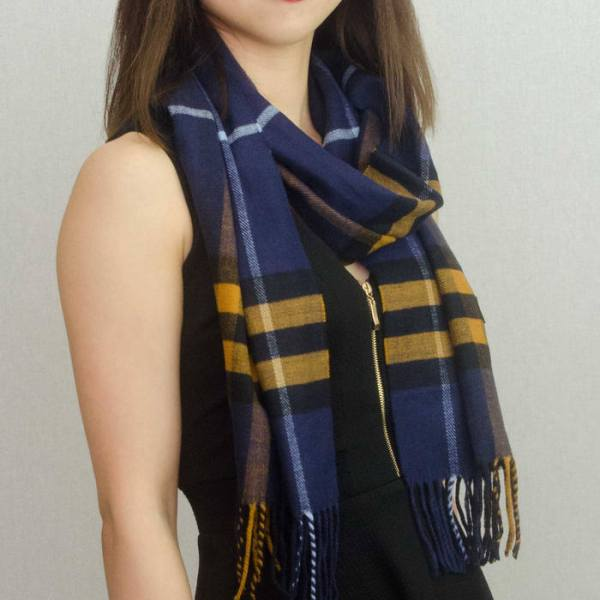Woven Cashmere Feel Plaid Scarf Z39 Navy 2
