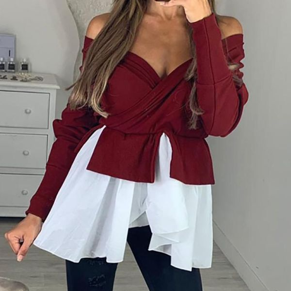 Off Shoulder Batwing Sleeve Colorblock Insert Ruffles Blouse 2