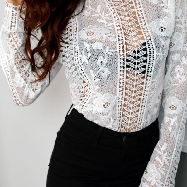 Lace Hollow Out Scalloped Trim Blouse 2