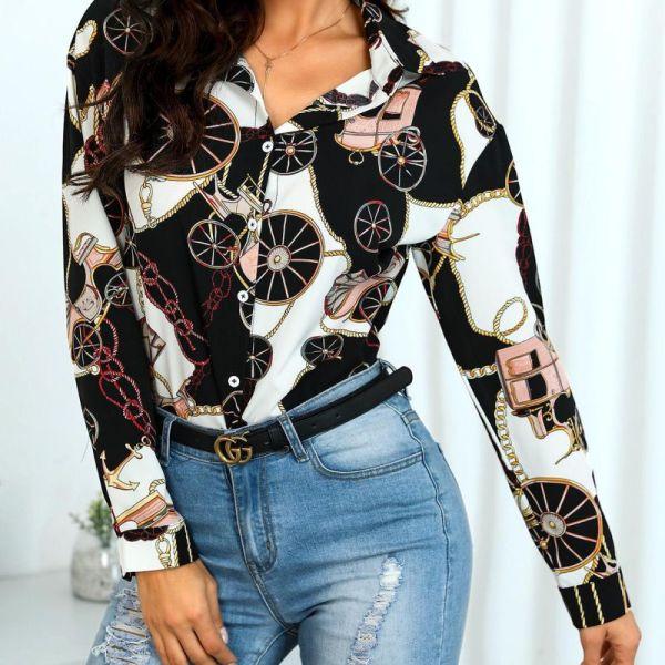 Mixed Print Button Up Casual Shirt 2