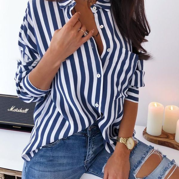 Turn-down Collar Colorblock Striped Buttoned Shirt 2