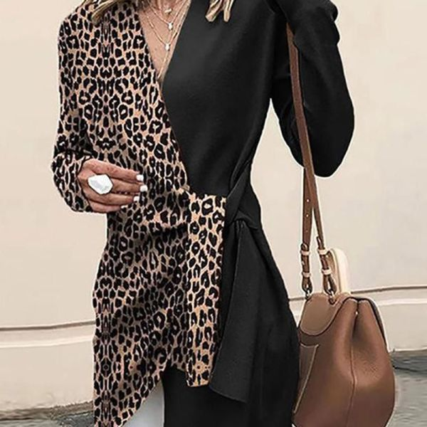 Contrast V Neck Leopard Tunic 2