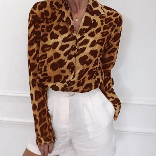 Leopard Print Long Sleeve Chiffon Blouse 2