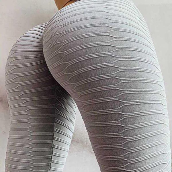 High Waist Solid Texture Workout Yoga Legging 2