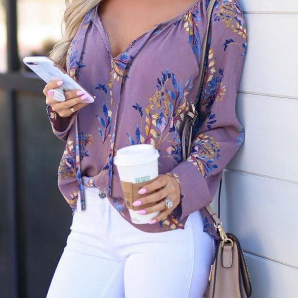 Floral Print Long Sleeve Casual Blouse 2