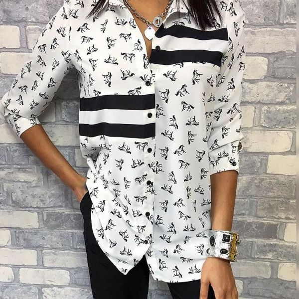Horse Pattern Contrast Striped Shirt 2