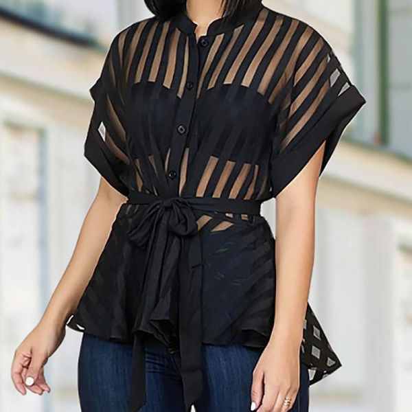 Striped See Through Buttoned Tied Waist Shirt 2