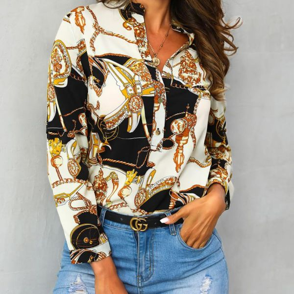 Scarf Print Button Detail Long Sleeve Blouse 2