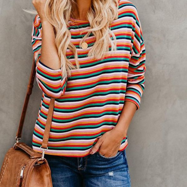 Colorful Striped Long Sleeve Blouse 2
