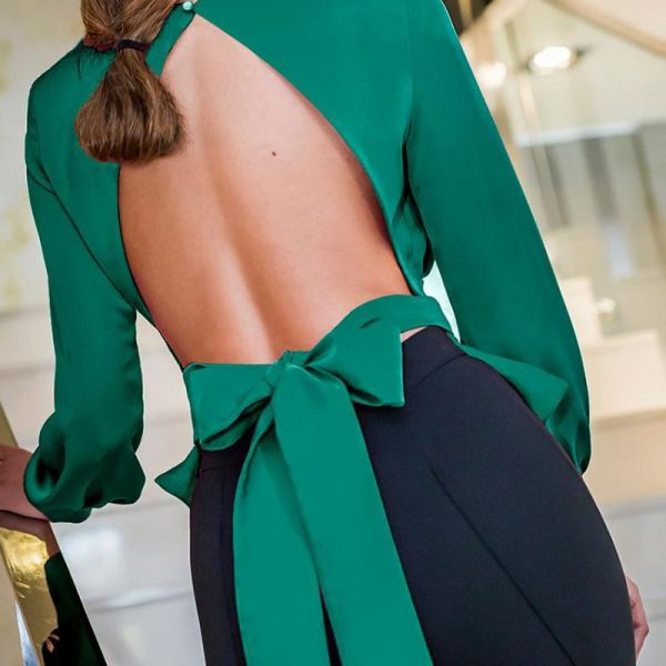 Solid Bowknot Design Open Back Blouse 2