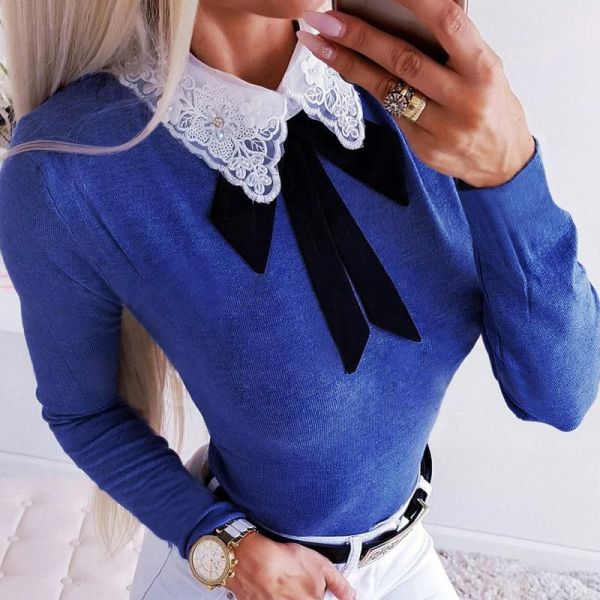 Crochet Lace Insert Bowknot Long Sleeve Blouse 2