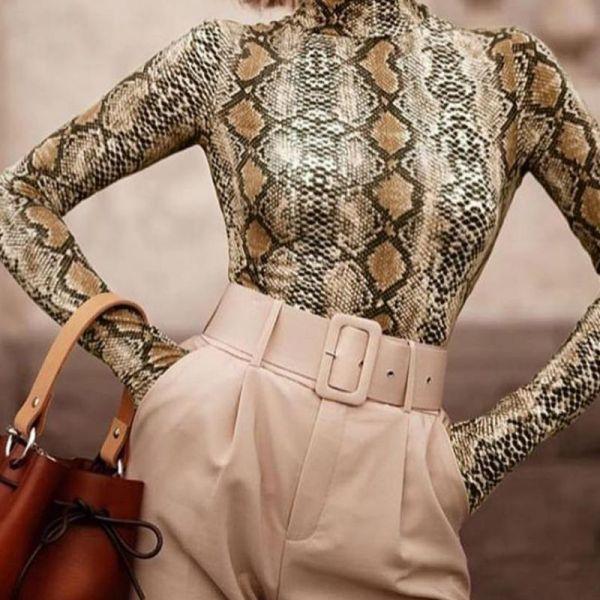 Snakeskin Print Mock Neck Long Sleeve Blouse 2