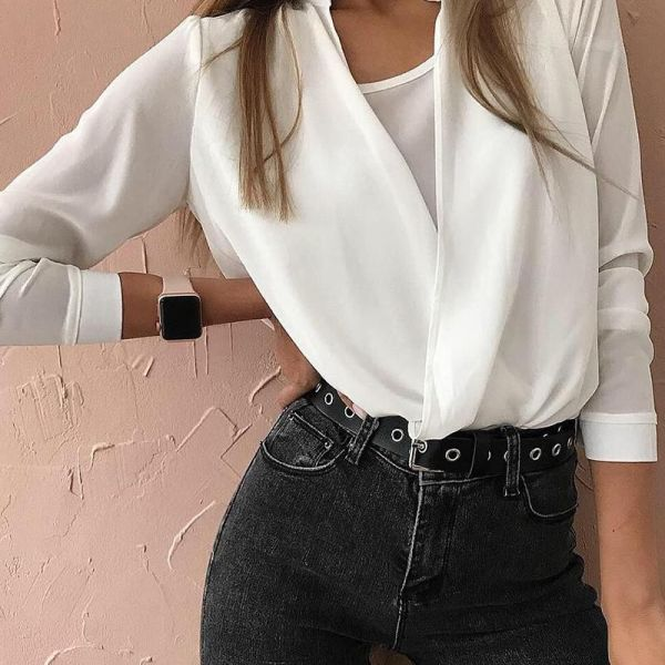 Solid Fake Two Piece Long Sleeve Blouse 2
