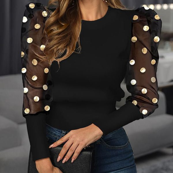 Mesh Dot Puffed Sleeve Blouse 2