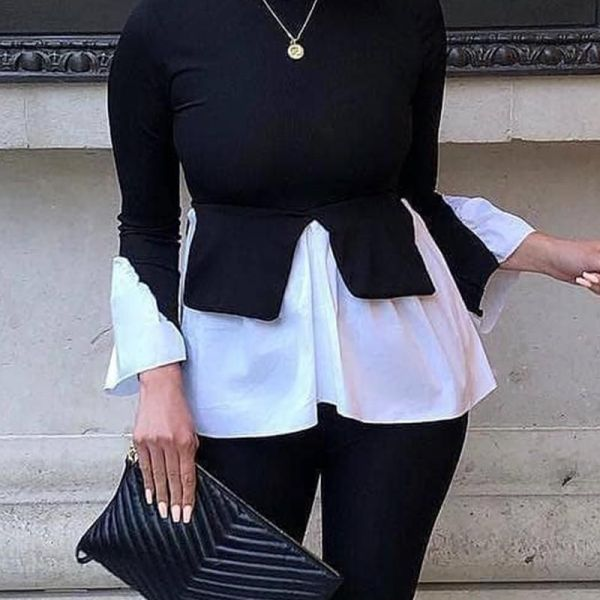 Layered Contrast Long Sleeve Top 2