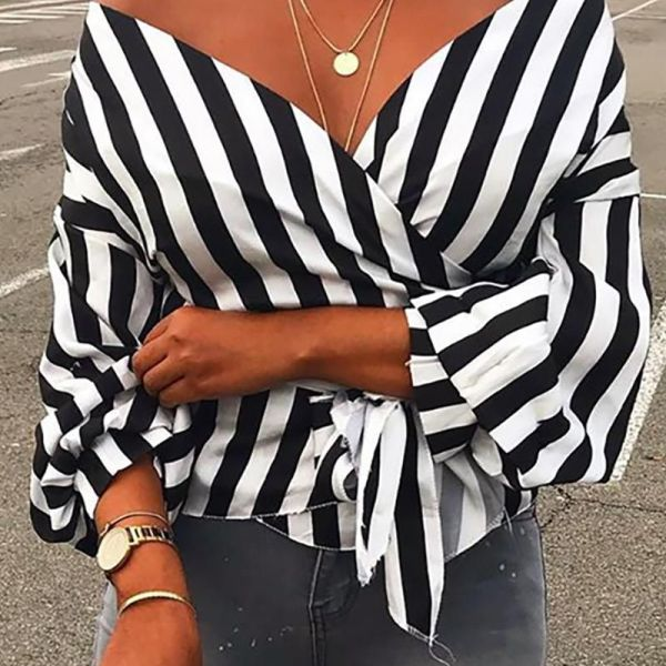 Off Shoulder Striped Casual Blouse 2