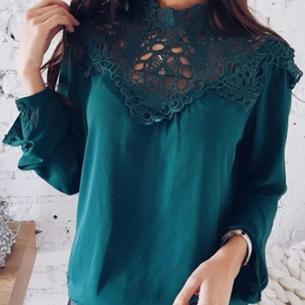 Lace Embroidery Hollow Out Casual Blouse 2