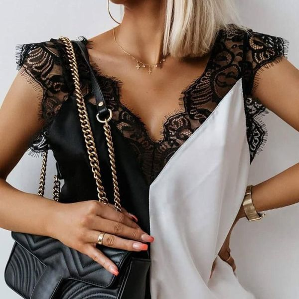 V-neck Stitching Lace Top 2