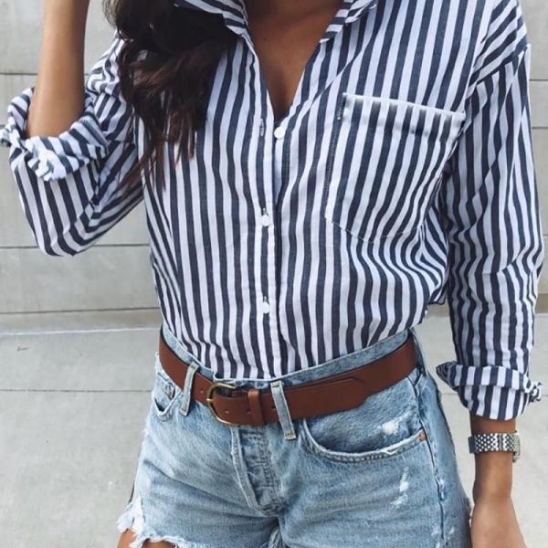 Striped Long Sleeve Pocket Detail Shirt 2