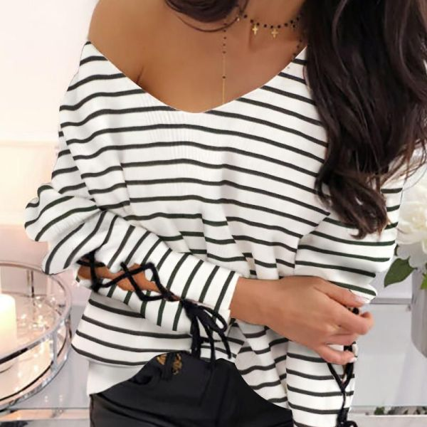 Striped Tied Cuff Casual Blouse 2